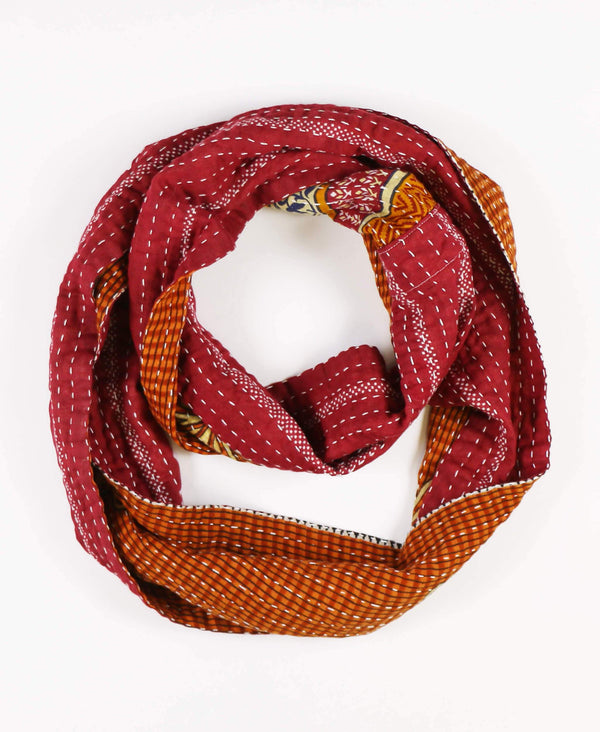 Rust colored hand-stitched cotton infinity scarf made from vintage cotton saris