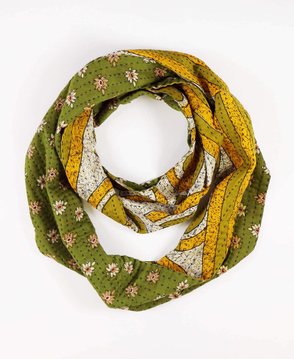 olive green cotton circle scarf with reversible two-in-one pattern