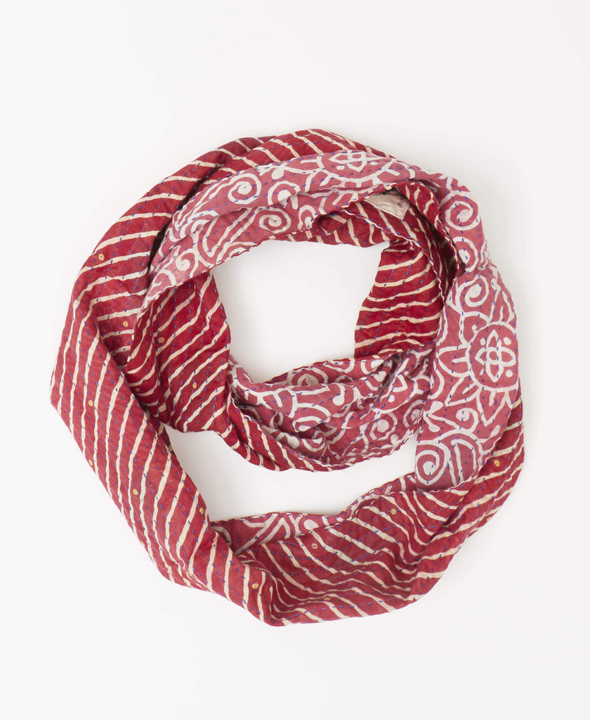 Fairtrade red infinity cotton scarf with white stripes and floral pattern made by Anchal artisans in India