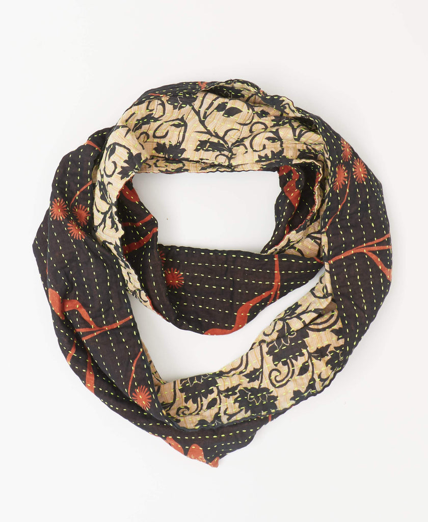 Black, orange, and white fairtrade infinity scarf with neon yellow kantha stitching made from vintage sarees made in Ajmer India