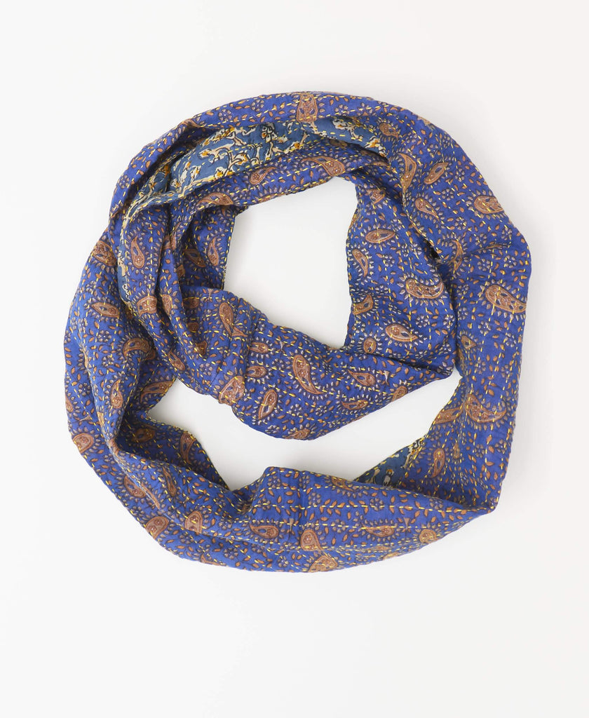 Fairtrade blue reversible infinity scarf made from recycled cotton and handstitched with yellow kantha stitching