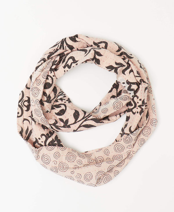 Anchal fairtrade light pink kantha infinity scarf handstitched with a pink Kantha stitching by Anchal artisans
