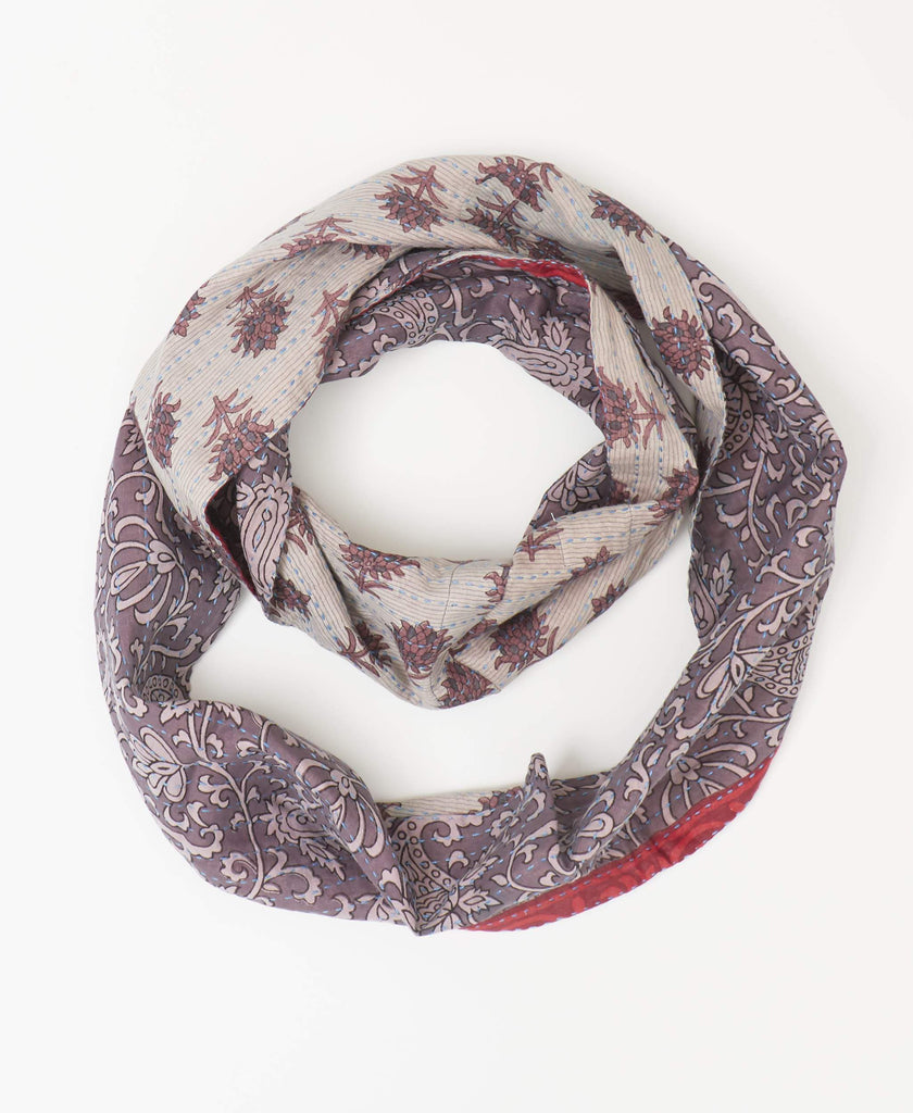 Sustainable infinity scarf made from recycled sarees with purple paisley and floral patterning