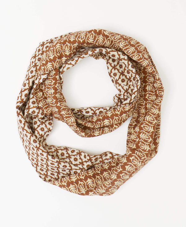 Brown geometric Kantha infinity scarf with a small floral print made from recycled cotton