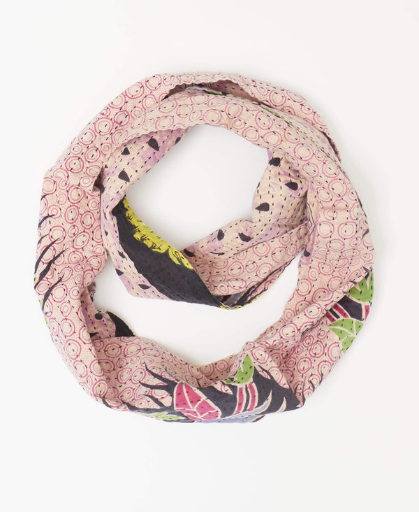 Reversible infinity scarf handstitched by artisans in India made with pink vintage sarees and black Kantha stitching