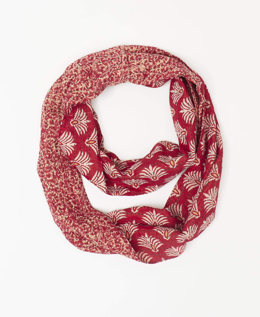 Vintage saree Kantha infinity red scarf with white spiral patterns handstitched with black Kantha stitching