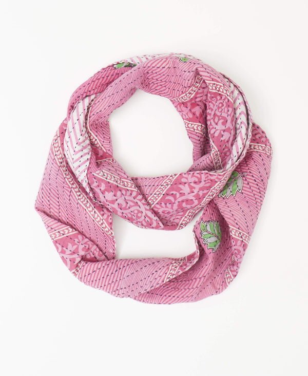 Sustainable pink and green infinity scarf made from recycled sarees and handstitched by Anchal artisans in Ajmer India