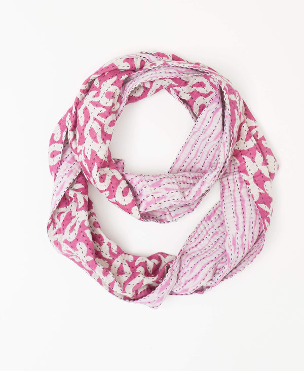 Reversible pink Kantha infinity scarf handstitched with a black Kantha stitch