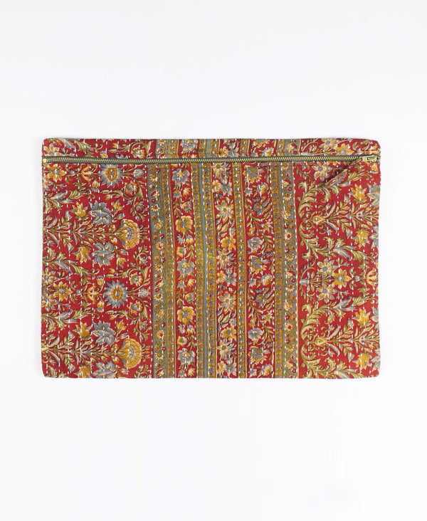 Anchal Project striped floral kantha zippered pouch