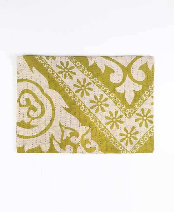 Fair Trade olive green zippered pouch made from vintage sari fabrics