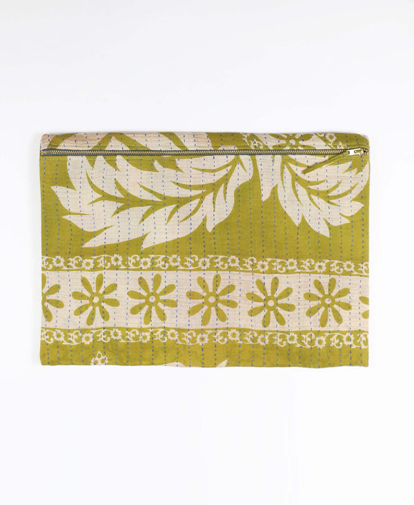 Anchal Project olive green zippered pouch clutch