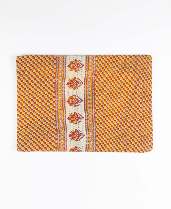 zipper pouch made from vintage saris patterned in red and yellow gingham