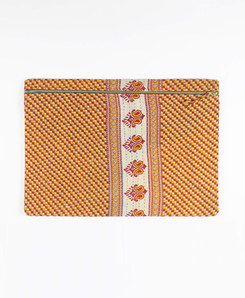 Anchal Project red and yellow zippered pouch clutch