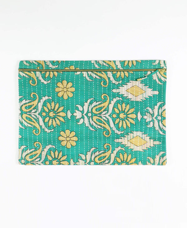 green kantha pouch clutch with zipper closure