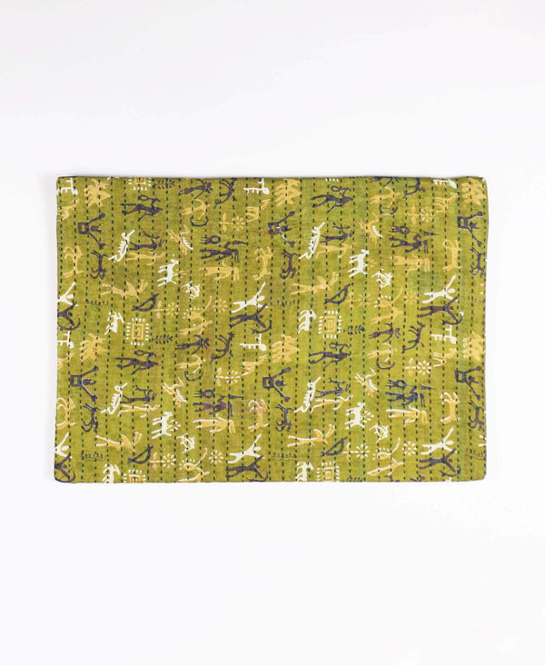 kantha laptop sleeve made from olive green vintage saris