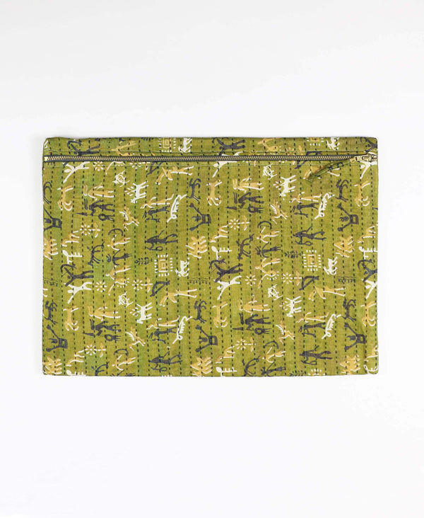 olive green oversized cotton clutch Anchal Project