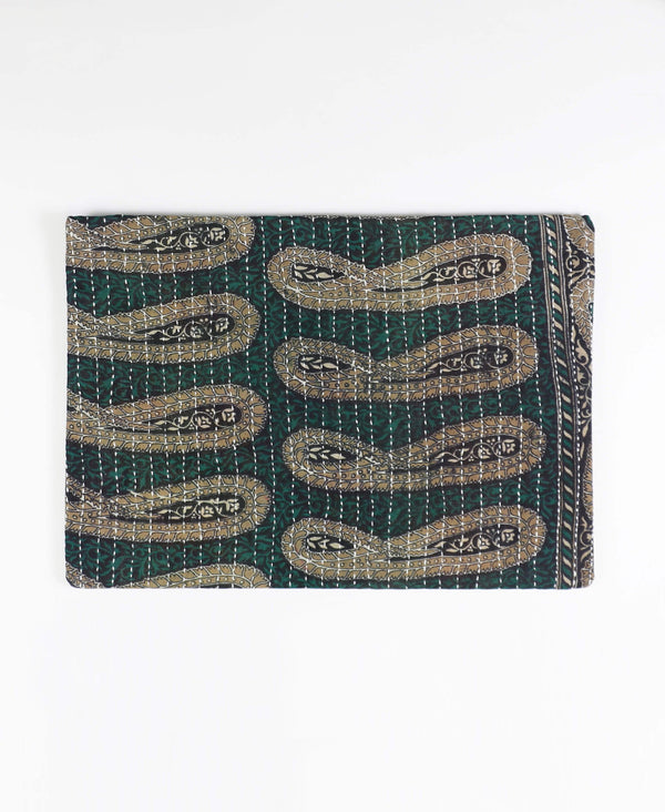 ethically made cotton laptop sleeve with blue green paisley pattern