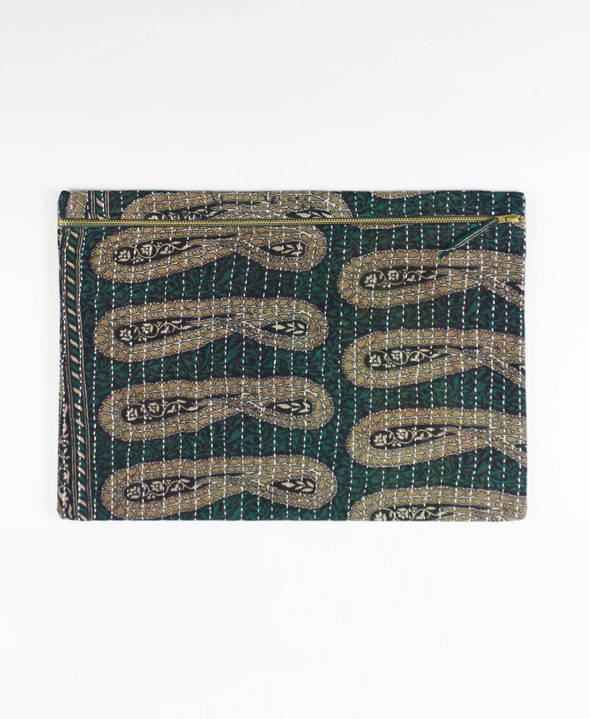 blue green paisley printed zippered pouch clutch