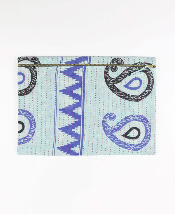 vintage cotton oversized zippered pouch patterned in sky blue paisley