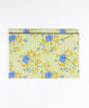 pale yellow and blue floral large zippered pouch