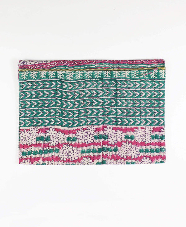 green arrow vintage cotton sari zippered pouch