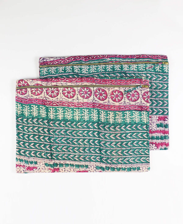 green and pink floral patterned hand-stitched laptop sleeve
