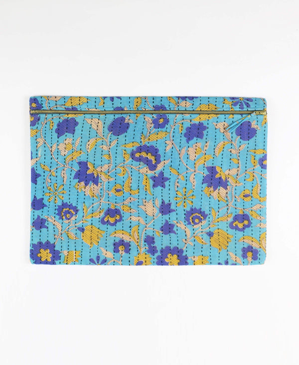 blue floral cotton pouch clutch with zipper closure