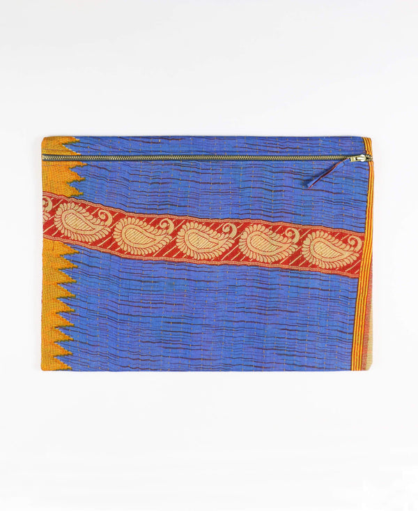 blue and red striped vintage cotton pouch clutch by Anchal Project
