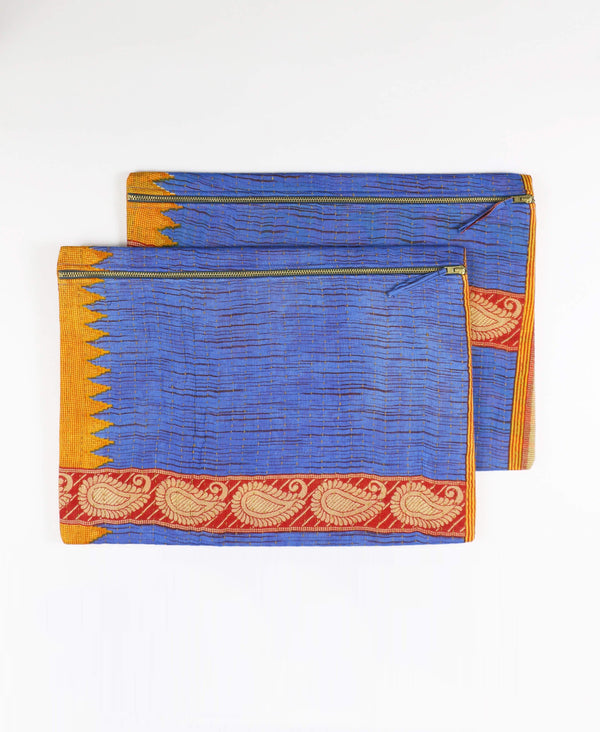 oversized vintage cotton clutch with kantha stitching and zipper closure