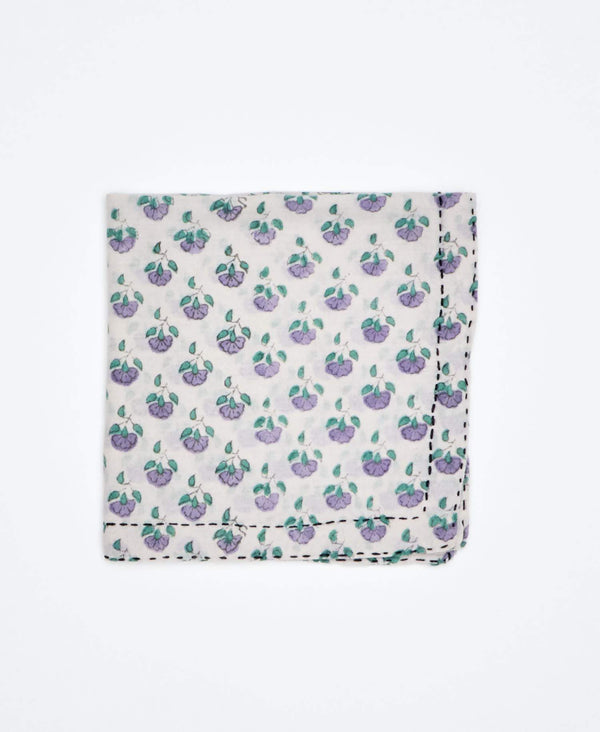 floral print pocket square that has been ethically handmade in Ajmer India