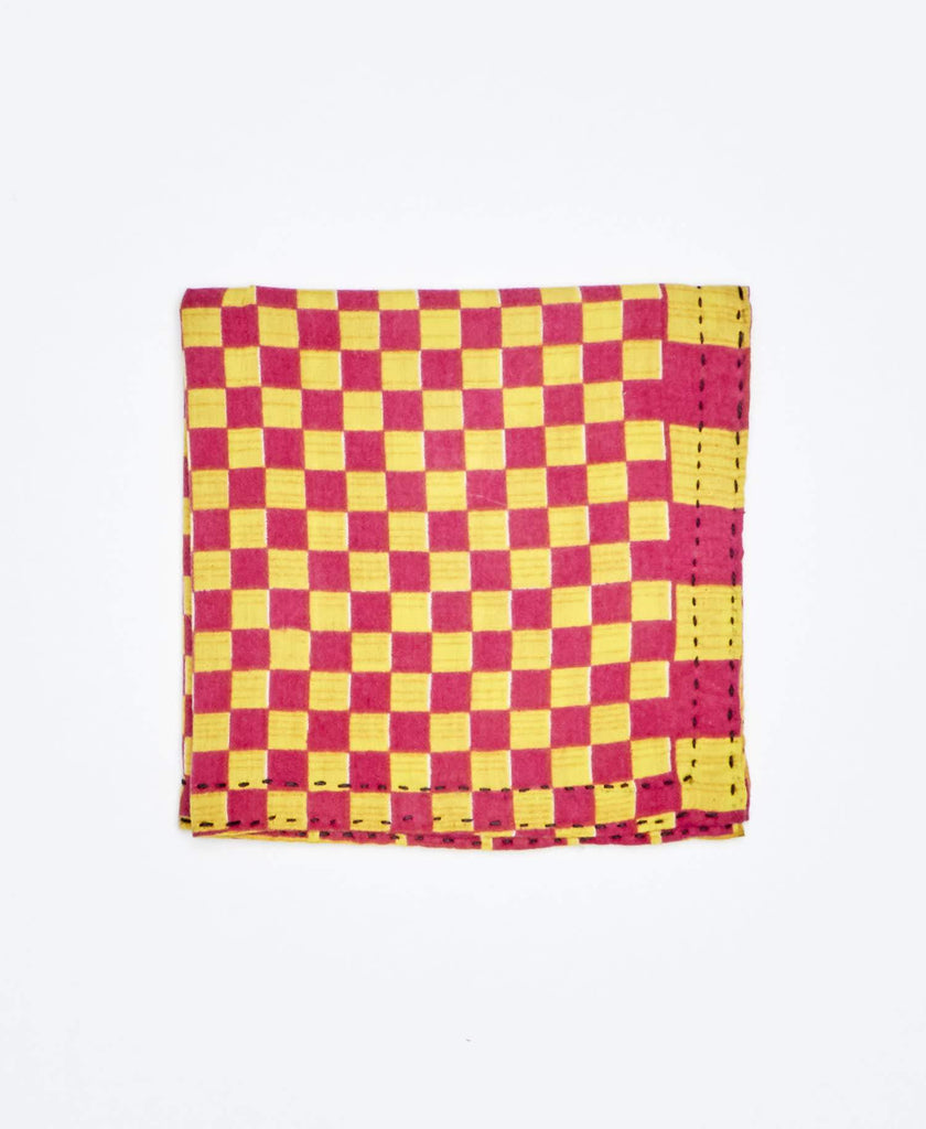pink and yellow checkered Anchal Project pocket squares