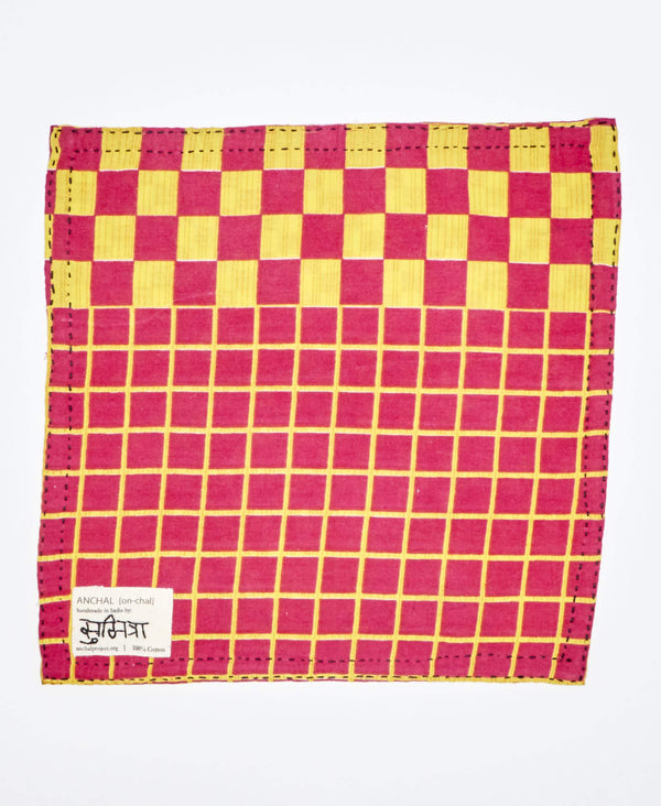 handmade pink and yellow pocket square for men