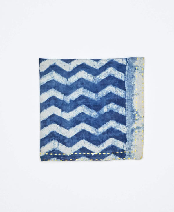 blue dyed pocket square for men with chevron detail