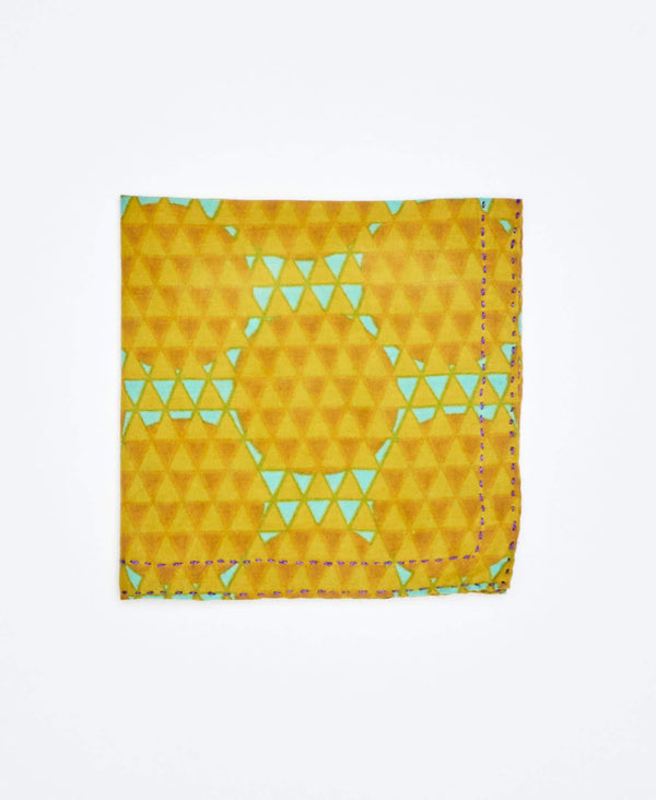 yellow and blue mens pocket square with honeycomb pattern