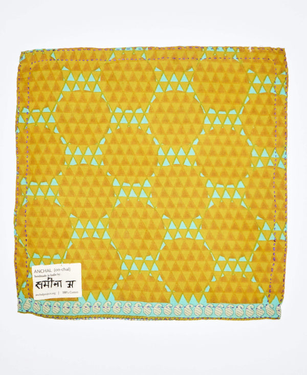 fair trade certified mens accessories, yellow and blue vibrant pocket square