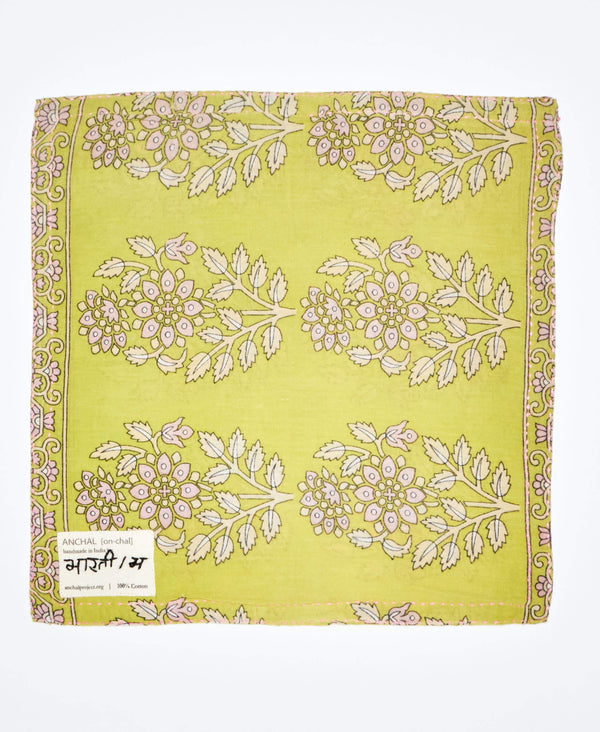 unique vintage patterned pocket square with yellow floral print