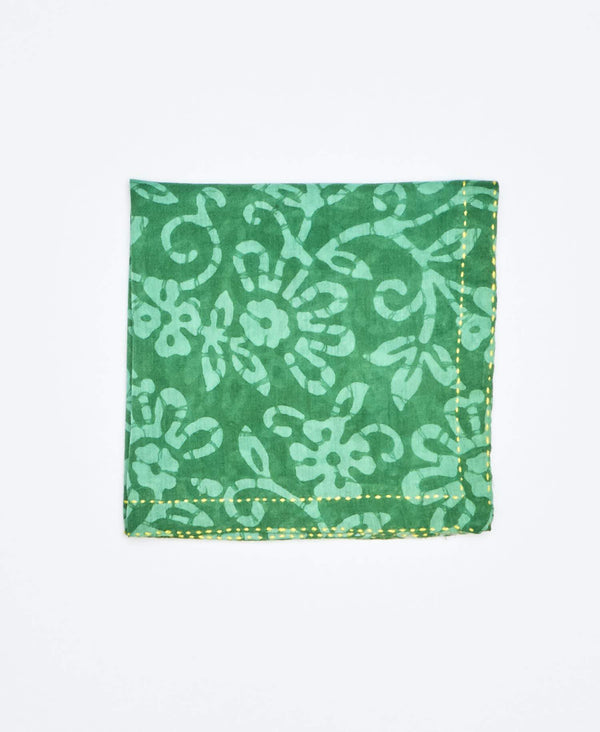 green vintage sari that has been upcycled into fair trade accessories