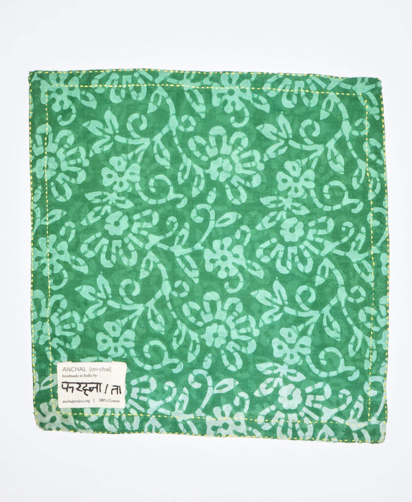 eco friendly mens accessories, floral green hand embroidered pocket square