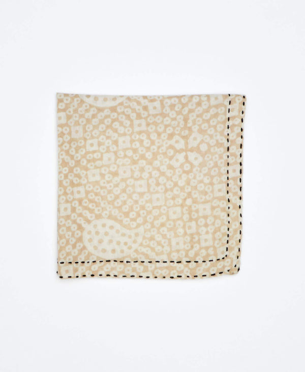 beige mens pocket square with black traditional kantha embroidery