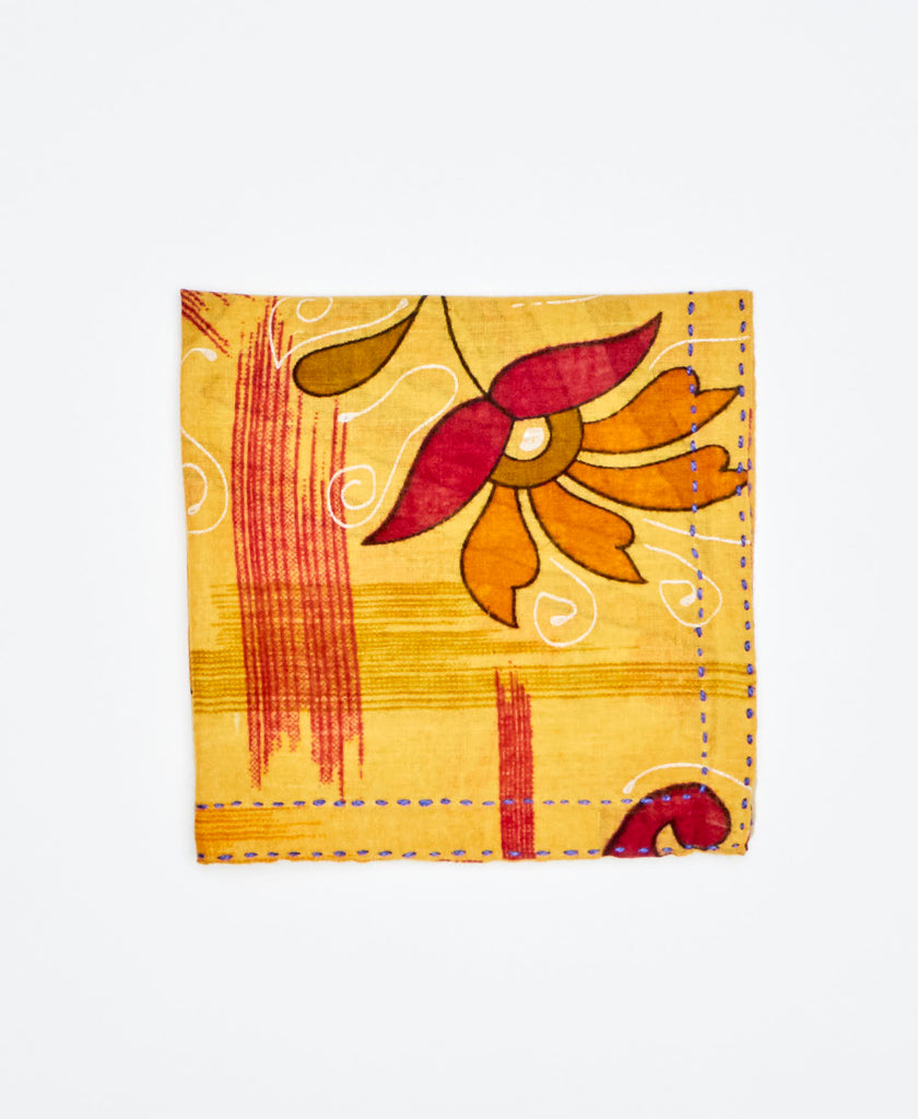 yellow cotton pocket square sustainably made with vintage cotton saris