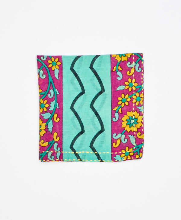 turquoise and purple cotton pocket square made from vintage cotton