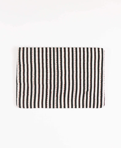 repurposed sari fabric striped pouch clutch