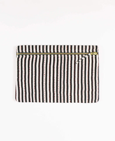 Anchal Project vintage kantha black and white monochromatic striped zipper pouch