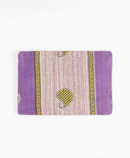 upcycled sari fabric purple pouch clutch