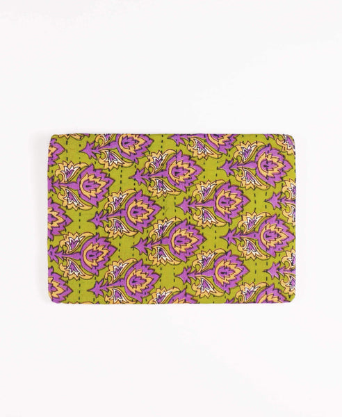 Anchal repurposed sari fabric lime green and lavender pouch clutch
