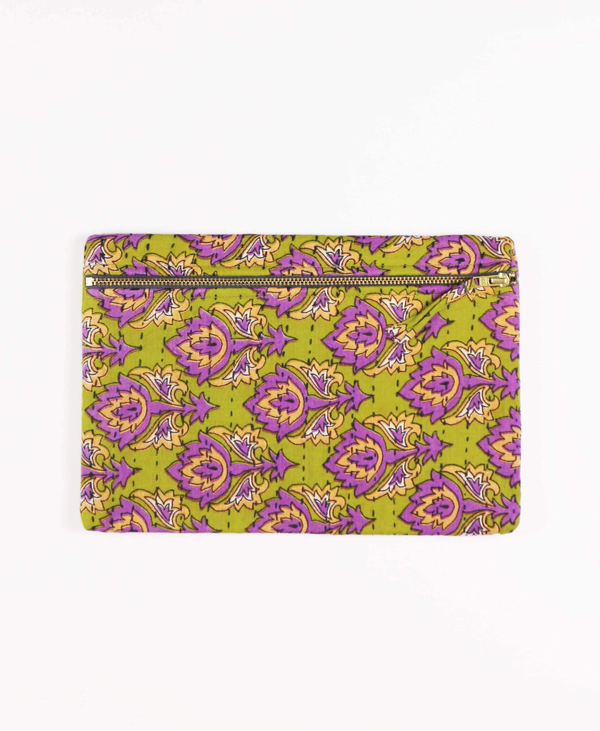 Anchal Project lime green and purple vintage kantha zipper pouch