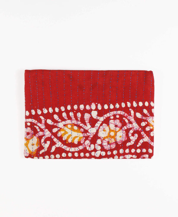 Fair Trade canvas clutch made with repurposed vintage cotton saris in crimson red