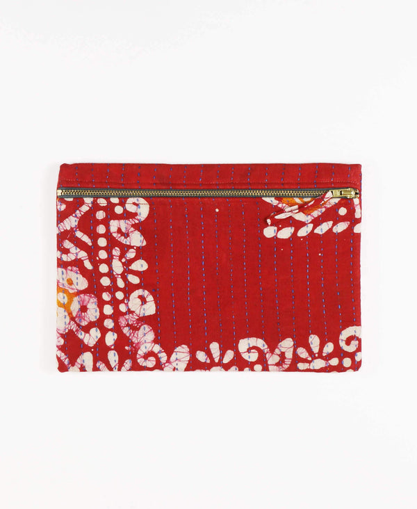 Anchal Project vintage kantha crimson red zipper pouch
