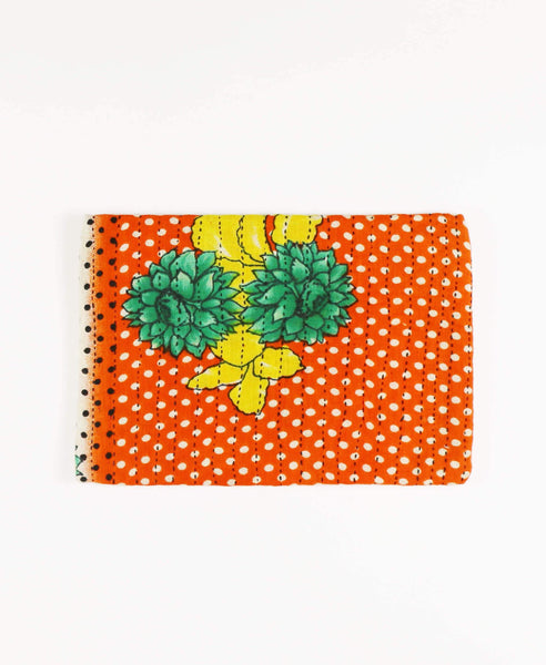 Anchal pouch clutch ethically made from orange floral vintage cotton saris