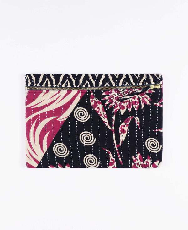 Anchal Project vintage kantha black and magenta zipper pouch